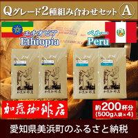 【ふるさと納税】加藤珈琲店Qグレード2種組み合わせセットA(Qエチオピア×2・Qペルー×2)<挽き具合:中挽き>