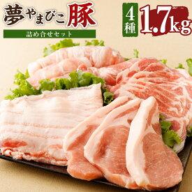 【ふるさと納税】夢やまびこ豚 詰め合せセット 1.7kg 4種類 (ロースかつ・肩ローススライス・バラスライス・モモスライス) 豚肉 肉 詰め合わせ セット トンカツ 小分け 真空パック 冷蔵 送料無料