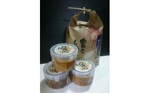 【ふるさと納税】米麹「国津みそ3種セット」白、黒、青大豆とお米セット