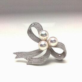【ふるさと納税】老舗の真珠専門店・高品質アコヤ真珠ブローチ7.0〜7.5ミリ(リボン)