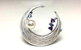 【ふるさと納税】老舗の真珠専門店・高品質アコヤ真珠ブローチ9.0〜9.5ミリ 天然石
