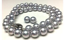 【ふるさと納税】老舗の真珠専門店・高品質アコヤ真珠ブルーネックレスセット8.5〜9.0mm