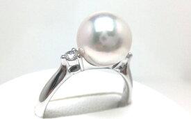 【ふるさと納税】老舗の安心高品質・花珠アコヤ本真珠リング9.0〜9.5ミリ