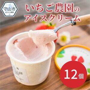 【ふるさと納税】数量限定!いちご農園のアイスクリーム12個パック【滋賀県守山市】