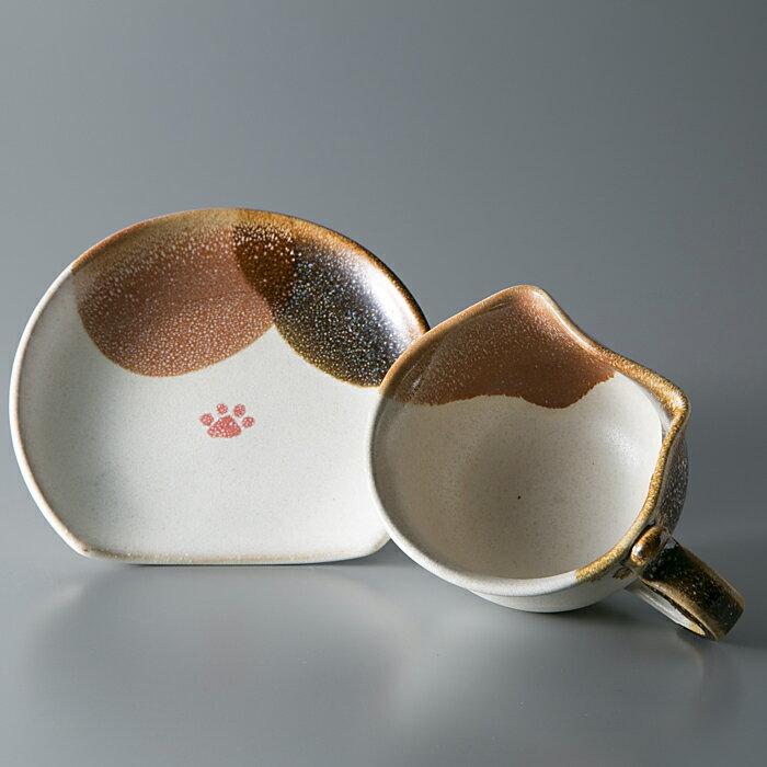 【ふるさと納税】A49 布引焼 ティーカップセット 「三毛ねこ」 [ 高島屋選定品 ](提供)布引焼窯元