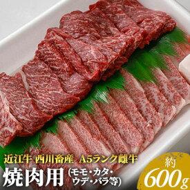 【ふるさと納税】近江牛A5ランク 焼肉用 約600g (モモ・カタ・ウデ・バラ系等) 【お肉・牛肉・焼肉・バーベキュー】 お届け:お盆・年末年始の出荷不可。8月・12月の申込みは、翌月配送となる場合がございます。