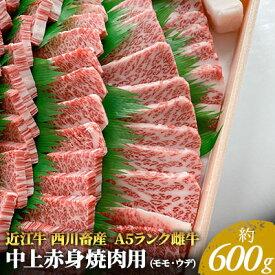 【ふるさと納税】【近江牛 西川畜産】A5ランク雌牛 中上赤身焼肉用 約600g 【お肉・牛肉・焼肉・バーベキュー・A5ランク・焼肉用・モモ・近江牛】