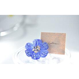 【ふるさと納税】Flower ガラスブローチ 青 【工芸品・ファッション小物・ブローチ・アクセサリー】