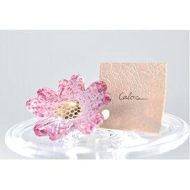 【ふるさと納税】Flower ガラスブローチ ピンク 【工芸品・ファッション小物・ブローチ・アクセサリー】