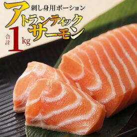【ふるさと納税】アトランティックサーモン 刺し身用ポーション 小分け 大容量 1kg(5〜6パック)