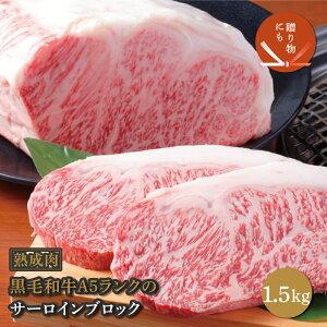 【ふるさと納税】熟成黒毛和牛A5サーロインブロック 1.5kg(梅塩100g付き)【化粧箱入り】