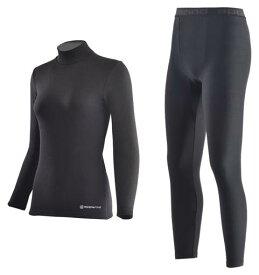 【ふるさと納税】女性用 防寒用 ハイネック インナーシャツ・ヒートタイツ上下セット(Mink) 黒 サイズS、M、L、LL スポーツ・アウトドアに