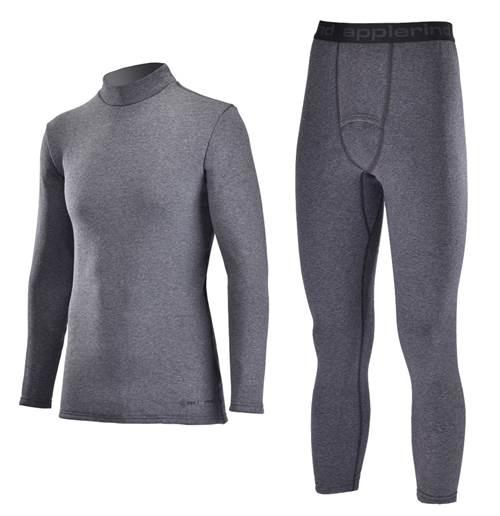 【ふるさと納税】期間限定 男性用 防寒用 ハイネックインナーシャツ&ヒートタイツ上下セット(Mink) グレー サイズM、L、XL スポーツ・アウトドアに
