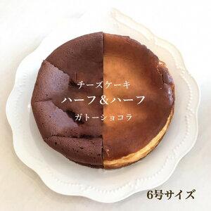【ふるさと納税】BY44*ハーフ&ハーフ(チーズケーキと生チョコタイプのガトーショコラ)6号サイズ冷凍