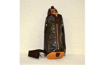 【ふるさと納税】豊岡鞄 帆布PU×皮革ワンショルダー(24-132)チョコ