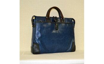 【ふるさと納税】豊岡鞄 帆布PU×皮革ソフトブリーフ(24-110)ブルー
