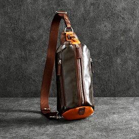 【ふるさと納税】豊岡鞄 帆布PU×皮革ワンショルダー(24-132)チョコ / カバン かばん バック