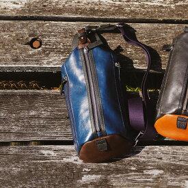 【ふるさと納税】豊岡鞄 帆布PU×皮革ワンショルダー(24-132)ブルー / カバン かばん バック