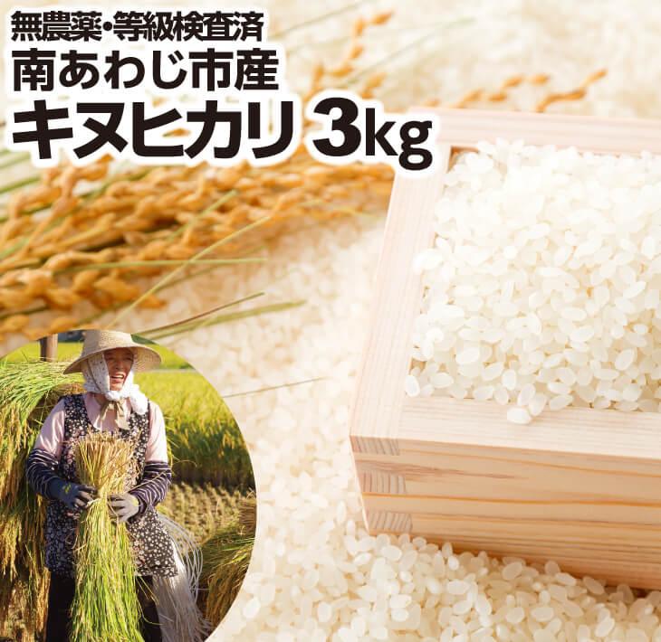 【ふるさと納税】「南あわじ市産キヌヒカリ」3kg クリーン精米済みにてお届け致します!