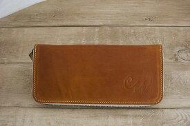 【ふるさと納税】WH-02-1 本革ラウンドファスナー財布(キャメル)