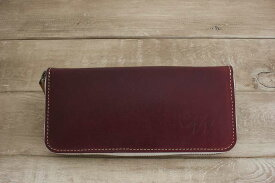 【ふるさと納税】WH-02-3 本革ラウンドファスナー財布(ワインレッド)