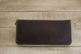【ふるさと納税】WH-02-4 本革ラウンドファスナー財布(ダークブラウン)