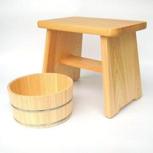 【ふるさと納税】【本格】ひのき風呂椅子・桶セット(デラックス30cmステンレスタガ)【1112047】