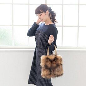 【ふるさと納税】フィンランド産シルバーフォックス パッチワーク手提げバッグ