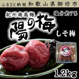 【ふるさと納税】 紀州南高梅 しそ梅3Lサイズ 1.2kg(塩分7%)