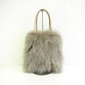 【ふるさと納税】ちょっとした贅沢!フォックス毛皮手提げバッグ グレージュ