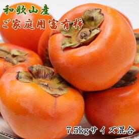 【ふるさと納税】和歌山産富有柿ご家庭用約7.5kgサイズ混合 (訳あり)※2021年11月上旬〜2021年12月上旬頃順次発送予定 ※着日指定不可