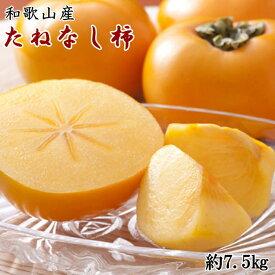 【ふるさと納税】【先行予約】[2021年9月中旬より発送]和歌山産たねなし柿(M〜2Lサイズおまかせ)約7.5kg