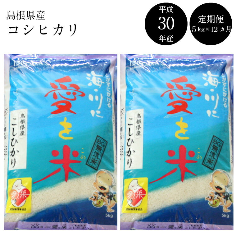 【ふるさと納税】BG無洗米(定期)コシヒカリ 5kg/12ヵ月 米 無洗米 定期 島根県