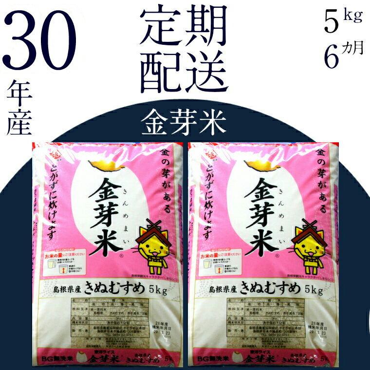 【ふるさと納税】 BG無洗米 金芽米 [定期] きぬむすめ  5kg/6ヵ月 米 無洗米 定期 島根県