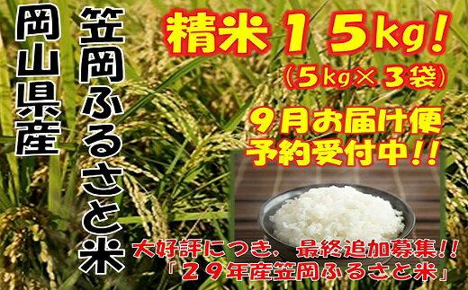 【ふるさと納税】【R29-09】29年産「笠岡ふるさと米」15kg(9月発送)