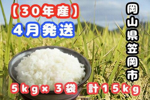 【ふるさと納税】R30-04 30年産「笠岡ふるさと米」15kg(4月発送)