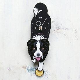 【ふるさと納税】<D-66 ボーダーコリー-犬の振り子時計>