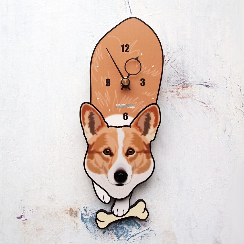 【ふるさと納税】D-88 コーギー-犬の振り子時計