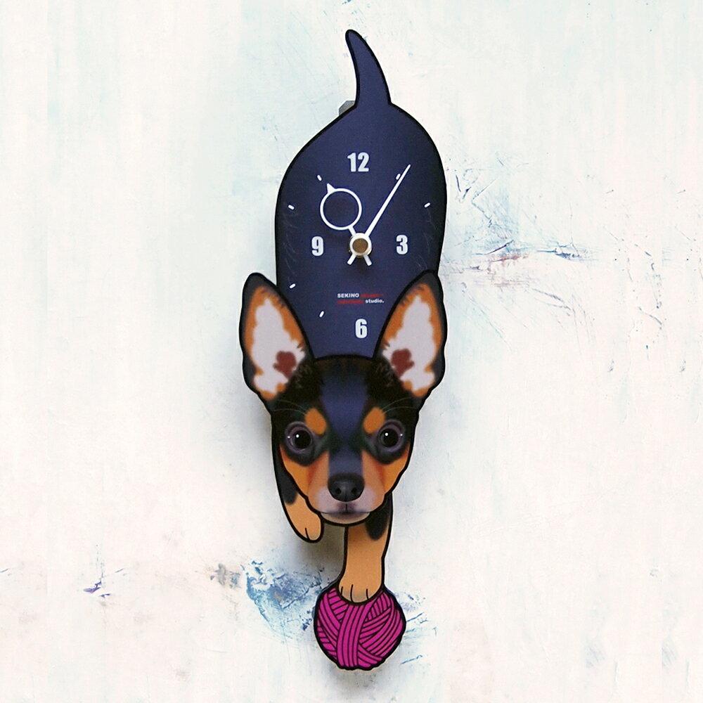 【ふるさと納税】D-109 ミニチュアピンシャー-犬の振り子時計