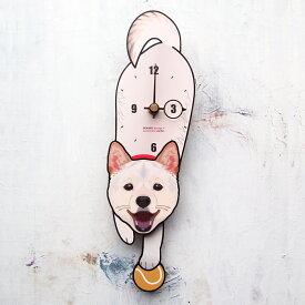 【ふるさと納税】<D-180 白柴犬(口開)-犬の振り子時計>