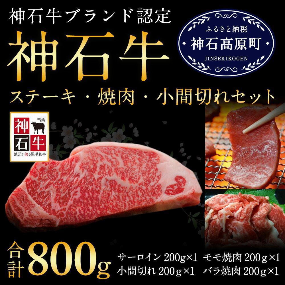 【ふるさと納税】[B-11]神石牛ステーキ・焼肉・小間切れセット 合計800g 牛肉 サーロイン モモ焼肉 バラ焼肉 小間切れ 送料無料