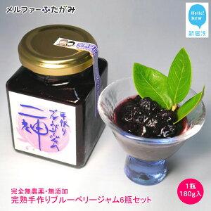 【ふるさと納税】完全無農薬・無添加「完熟手作りブルーベリージャム」(180g入)6瓶セット メルファふたがみ