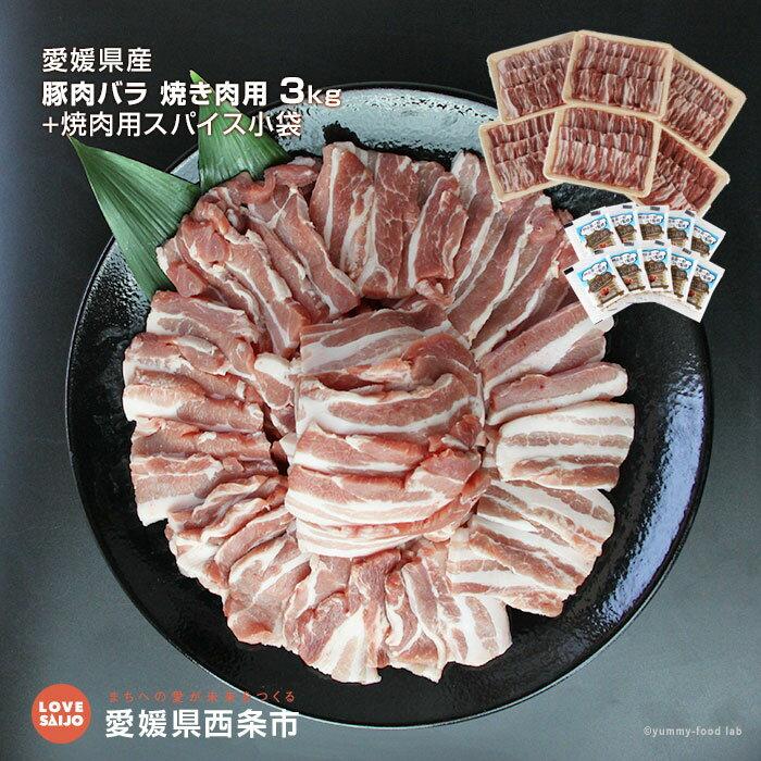 【ふるさと納税】<愛媛県産 豚肉バラ 焼き肉用3kg+焼肉用スパイス小袋> ※1か月以内に順次出荷します。 バラ肉 バーベキュー 愛媛県 西条市 【冷凍】