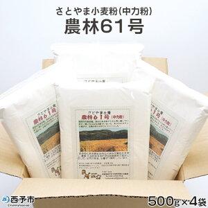 【ふるさと納税】<さとやま小麦粉(中力粉)農林61号 500g×4袋 合計2kg>※1か月以内に順次出荷 うどん 天ぷら クッキー おまんじゅう お菓子作り ホワイトソース 特産品 特定非営利活動法人ど