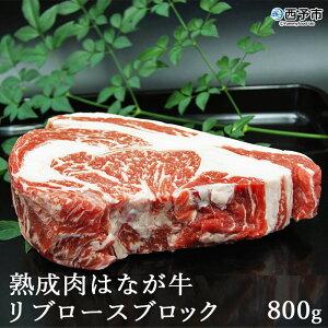 【ふるさと納税】<熟成肉 はなが牛リブロースブロック800g>※1か月以内に順次出荷 牛肉 鉄板焼き 国産牛 塊肉 特産品 愛媛県 西予市 【冷蔵】
