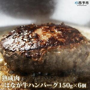 【ふるさと納税】<熟成肉 はなが牛ハンバーグ150g×6個 計900g>※1か月以内に順次出荷 牛肉 肉加工品 ゆうぼく 特産品 愛媛県 西予市 【冷凍】