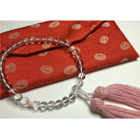 【ふるさと納税】水晶とピンク珊瑚の数珠 仏具 送料無料 <KN017>