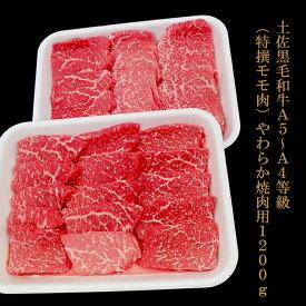 【ふるさと納税】土佐黒毛和牛A5〜A4等級(特撰モモ肉)やわらか焼肉用600g×2