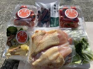 【ふるさと納税】鶏肉 鍋セット 3〜4人分 カット野菜(峯本農園)【AG-7】