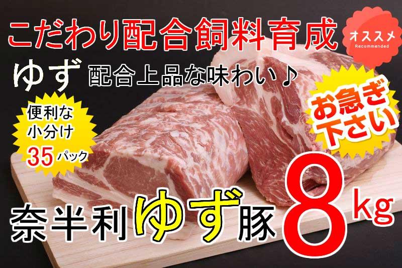 【ふるさと納税】kan166 ドカンと8kg!!もっちり食感♪こだわり配合飼料育成!奈半利ゆず豚満喫セット